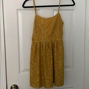 Forever 21 Lace Gold Mini Dress